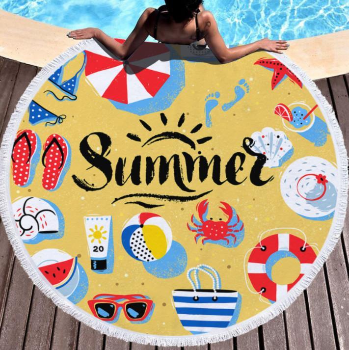 La dernière serviette de plage imprimée ronde de 150cm, style de la brise de mer tropicale d'été, des glands en microfibre, une touche douce, un logo personnalisé de support