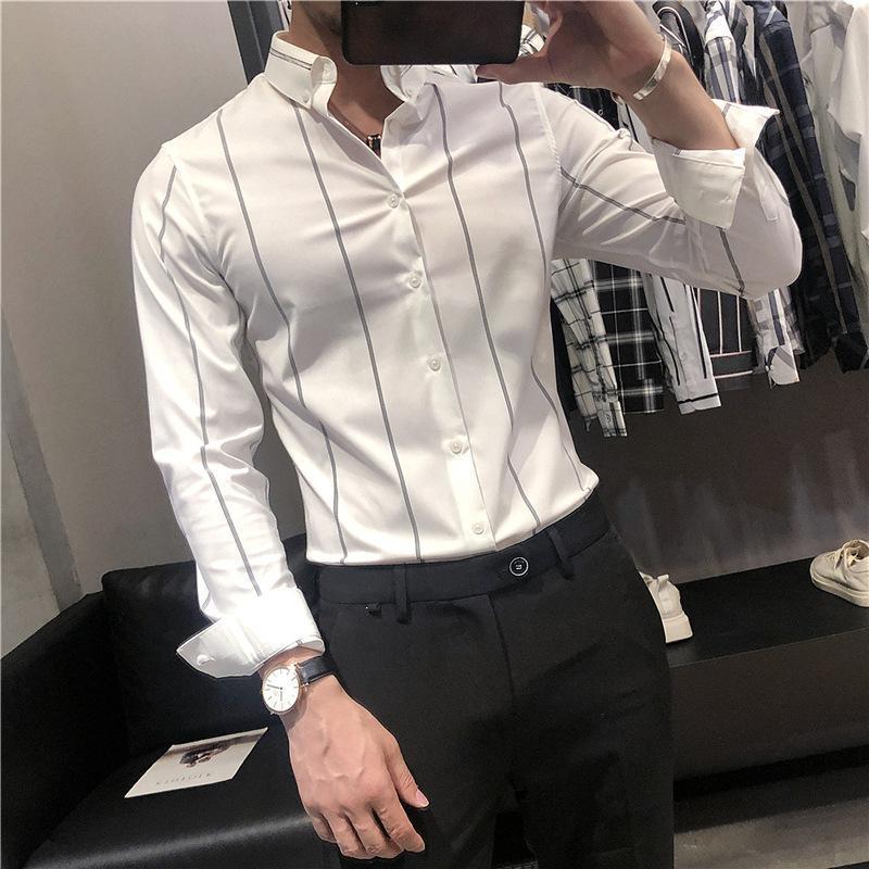 가을 남성의 비 철 긴팔 셔츠 영국 잘 생긴 스트라이프 바닥 소년 작업복 인치 캐주얼 셔츠