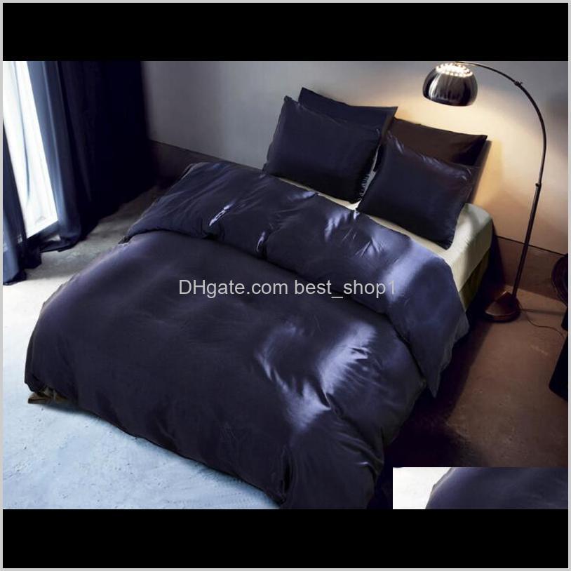 Conjuntos Suministros Textiles Home Garden Drop Entrega 2021 Imitación Seda Ropa de cama 3 PCS Satin Duvet Funda Sólido Color Sólido Juego Hermoso Simple Cuela