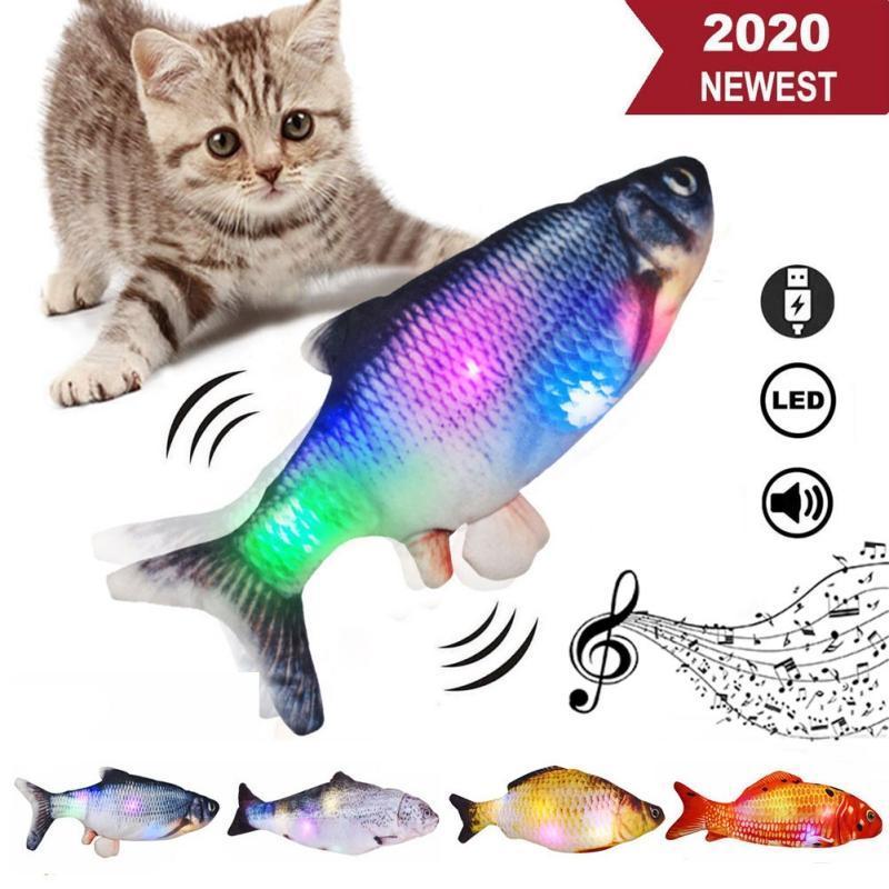 Jouets de chat Simulation électrique Poisson, jouet drôle, lumière colorée + musique de musique, carpe cruciane *