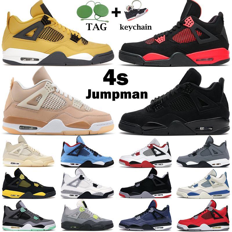 Nouvelles chaussures de basket-ball hommes femmes jumpman 4s feu rouge 4 chat noir loyal bleu race blanc ciment goyave glace hommes formateurs baskets de sport