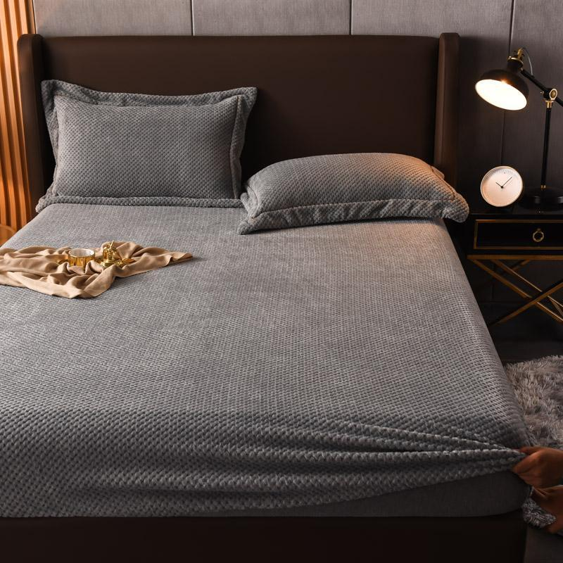 Sheets & Sets Beibei Velvet Fleece Bed Sheet Thicken Winter Warm Elastic Fitted Soft Mattress Cover Queen King Double Size 150x200cm