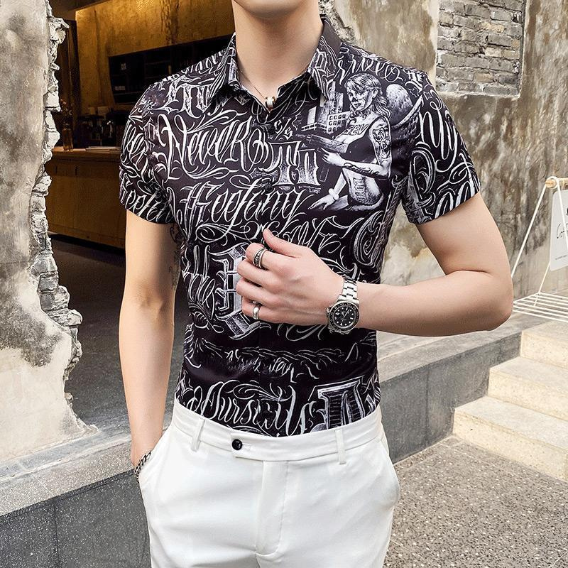 Summer Luxury Short Sleeve Shirt Mens Casual Flower Beach Hawaiian Shirts Slim Fit Floral Nightclub Men Plus Size Men's