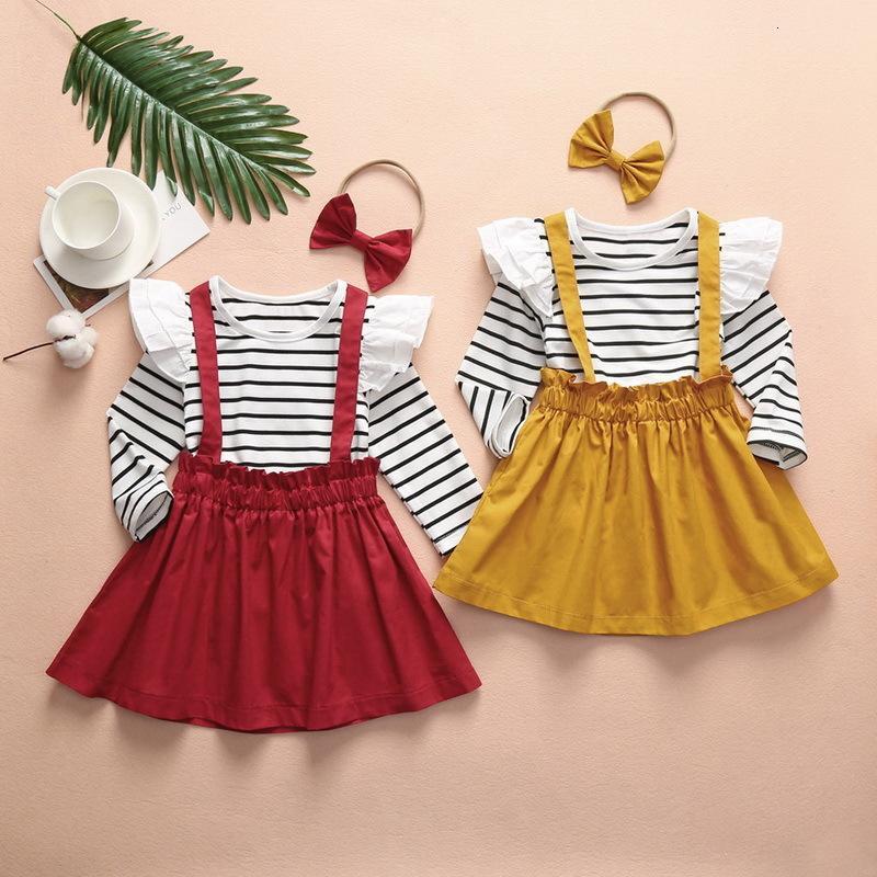 의류 세트 봄 여름 소녀 3-PCS 스트라이프 티셔츠 + Soild Color Sushender 치마 + 활 머리띠 패션 의류 복장 E005 C1G5