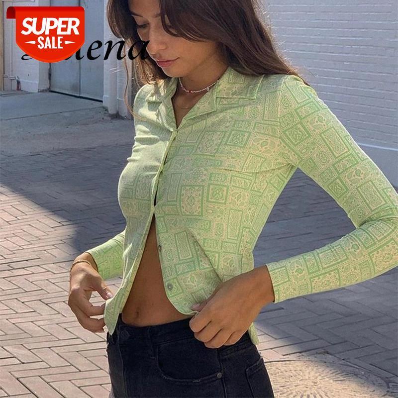 T-shirt impressa camisa longa manga camisa verde y2k botão até senhoras roupas mulheres 2021 sexy bainha vintage collar estética t party # 9k7s
