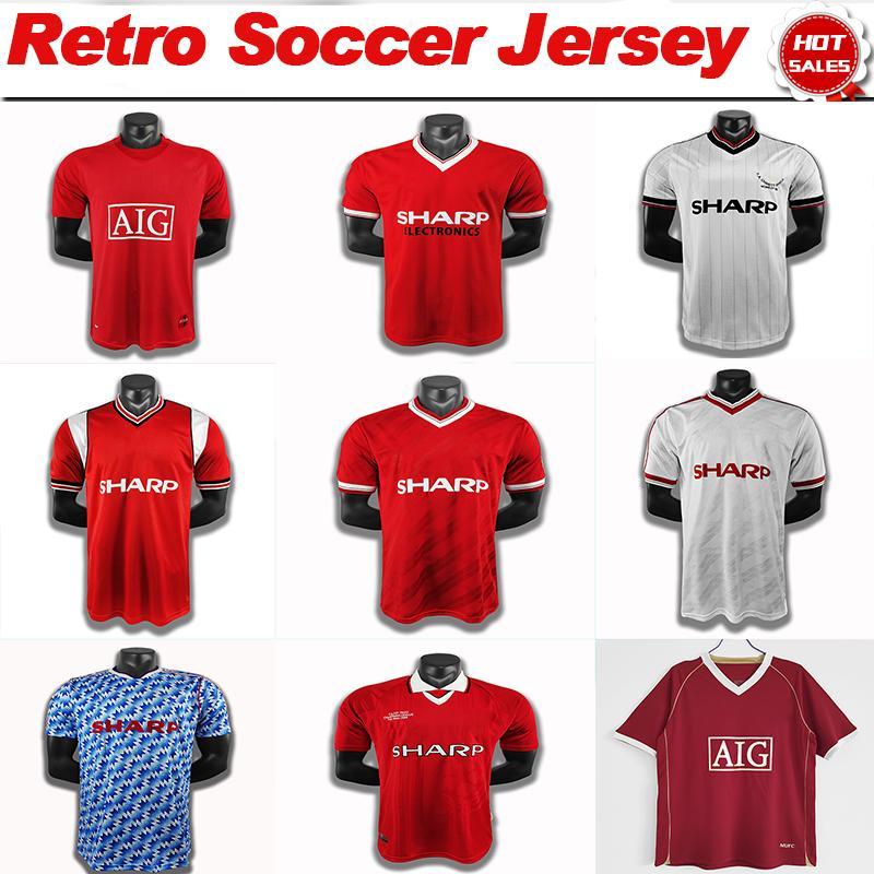 Ronaldo Soccer Jersey Ronaldo Beckham Rooney Shak Shirt 1983 1985/86 1992/93 1994 1998/99 2007/08 Home Away Football Uniforms Hommes S-2XL Top Thai Quality