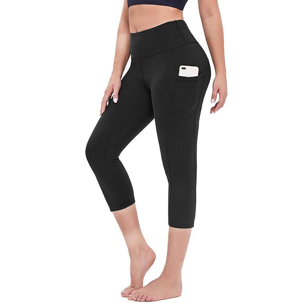 النساء تمتد 3/4 اليوغا السراويل طماق اللياقة البدنية الجري رياضة جيوب الرياضة النشطة العجل طول السراويل كابري بانت عالية الخصر legginsoccer جيرسي