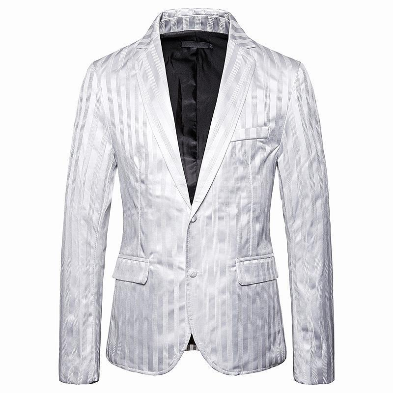 Luxury Men Office Blazer Jacket Fashion Striped Mens Suit Jacket Black/White Wedding Dress Coat Casual Business Male Suit Coat
