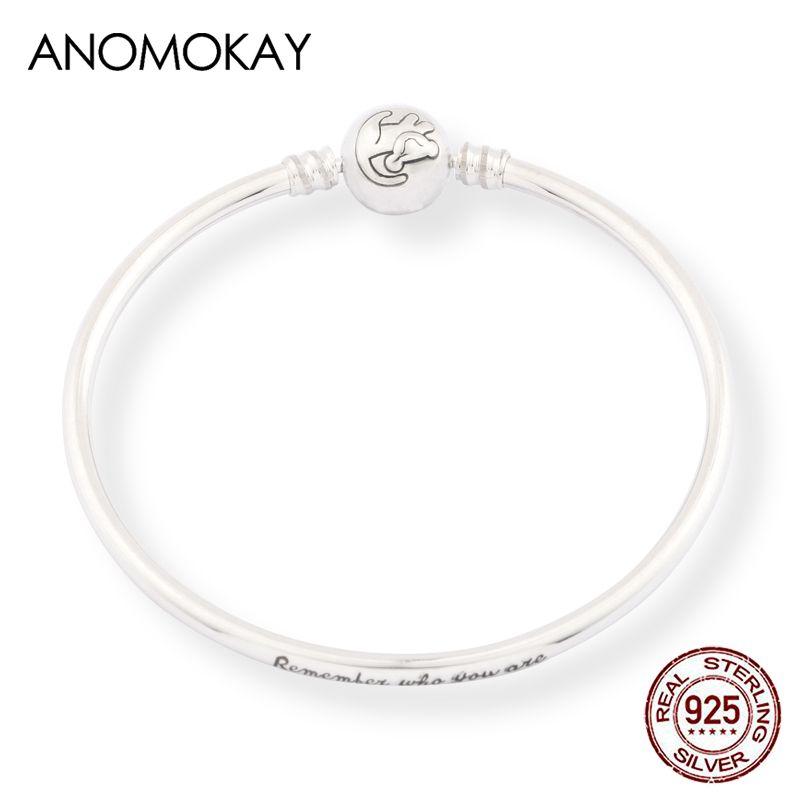 Anomokay Nouveau 100% 925 Sterling Sterling mignon petit lion bracelets bracelets pour enfants de mode cadeau d'anniversaire d'anniversaire argent bijoux lj201020