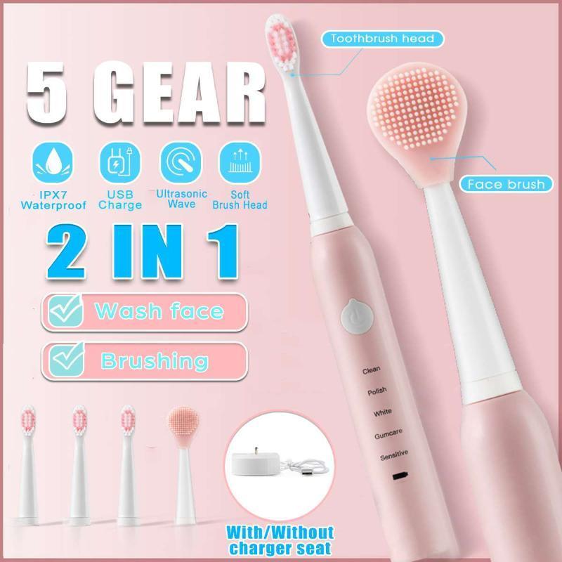 Sonice Spazzolino elettrico Spazzolino per la pulizia del viso Spazzola ad ultrasuoni Automatico Dente Ricaricabile Teste di ricambio Set SMART