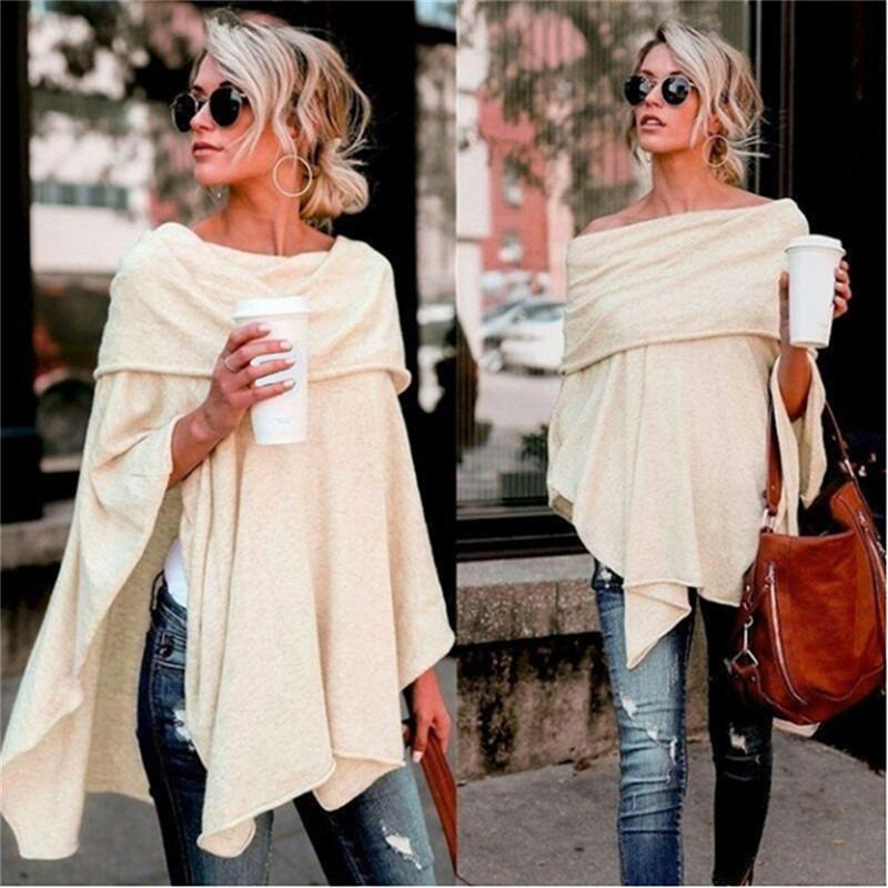 Women's Blouses & Shirts Pullover Blouse Off Shoulder Top Asymmetric Overlap Solid Poncho Womens Clothing Blusas 2021 Spring Fashion Ladies