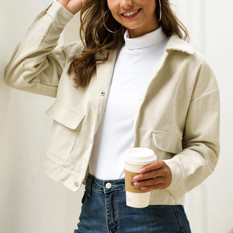 Women's Jackets Autumn Casual Fashion White Pocket Turn-down Collar Corduroy Coats Nice Solid Long Sleeve Vogue Women Short Coats#J31
