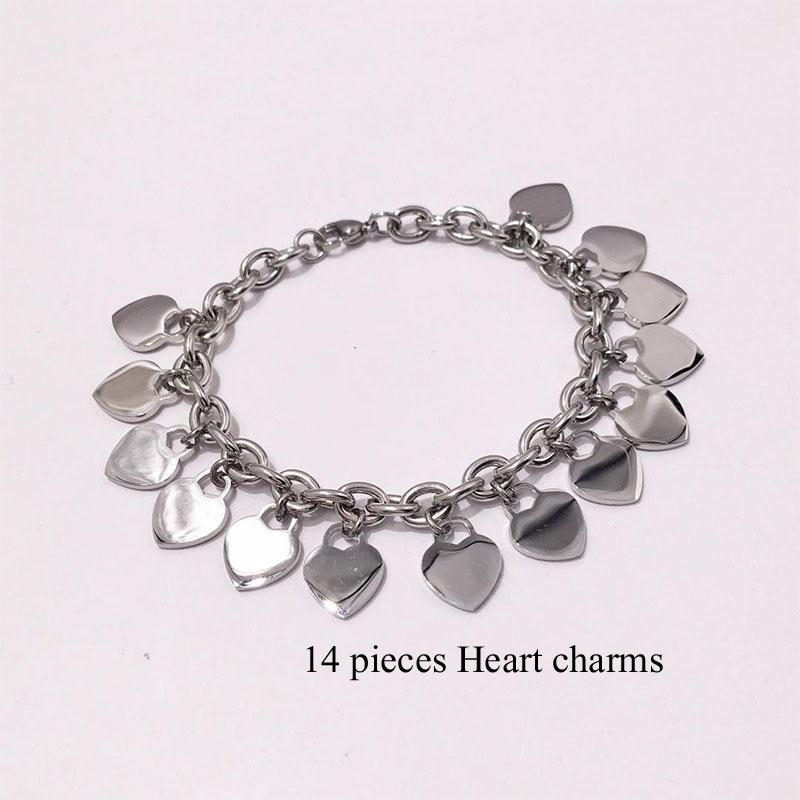 Fashion Silver Rose gold chains Women Bracelets Stainless PLEASE RETURN TO Heart charms Pulsera T letters