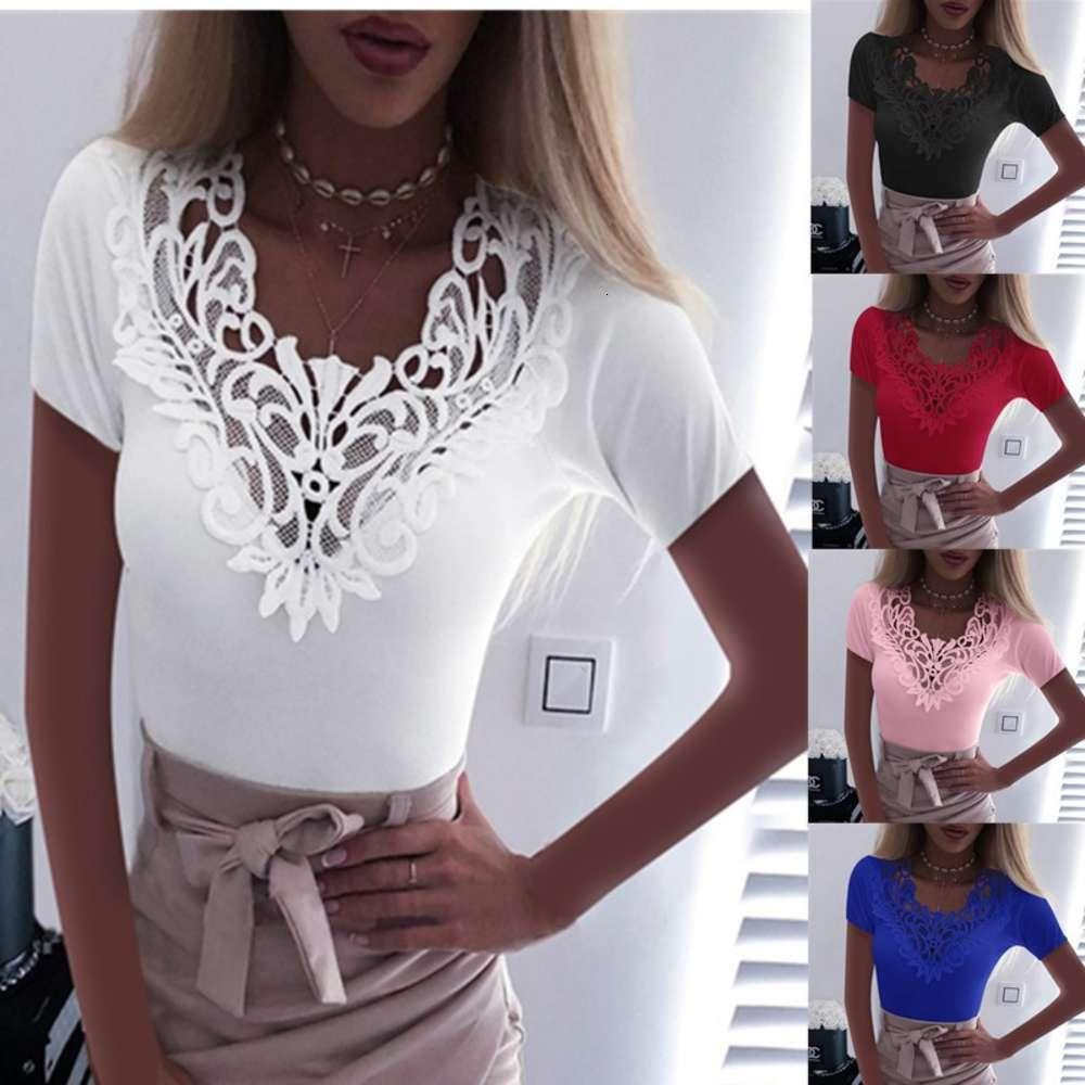 Women's T-Shirt Sexy short sleeve lace V-neck solid color stitching top for women GO80