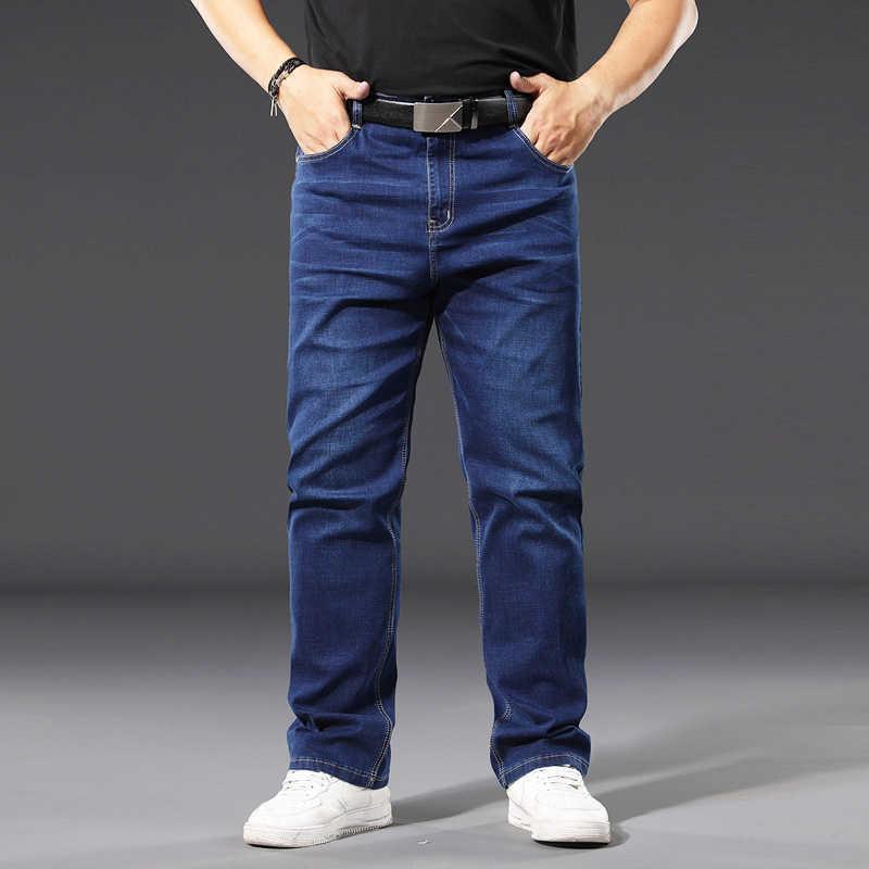 Printemps Hommes Entreprise Stretch Jeans Classic Fashion Tendance Lâche Désacturio Pantalon Denim Désactivé Mâle Plus Taille Pantalon 210531