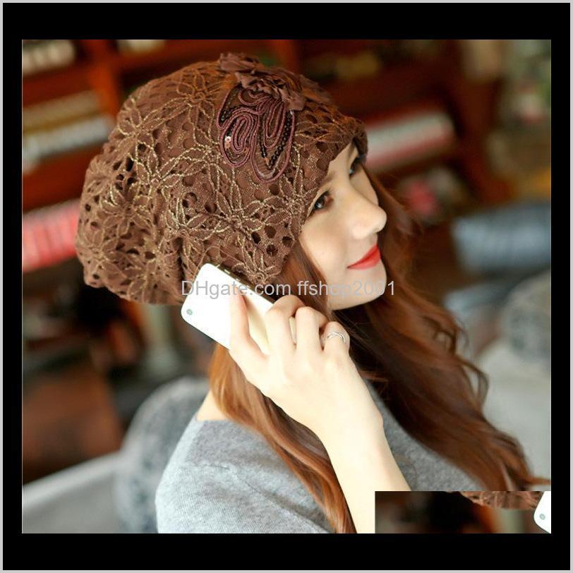 قبعة / جمجمة القبعات قبعات قبعات القبعات، والأوشحة قفازات الديكورات skullies beanies الخريف الشتاء بونيه الدانتيل الجوف خارج الزهور الكورية أزياء الكبار هكتار