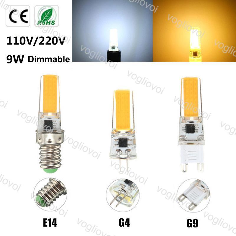 Lâmpadas LED COB Dimmable G4 G9 E14 AC110V 220V 9W Silicone Iluminação Interior para Cristal Candelabro Pingente Spotlight EUB