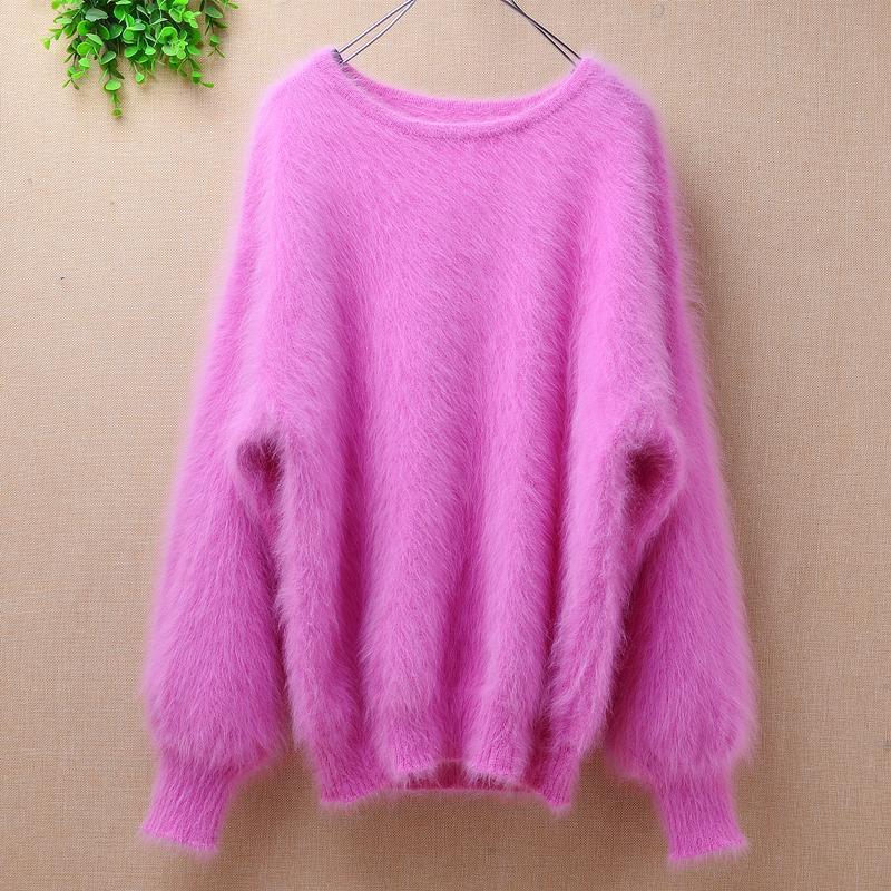 Elegante moda rosa corta donne inverno 100% lungo visone cashmere angora pelliccia lanterna maniche a batwing maglione pullover maglioni da donna maglioni da donna