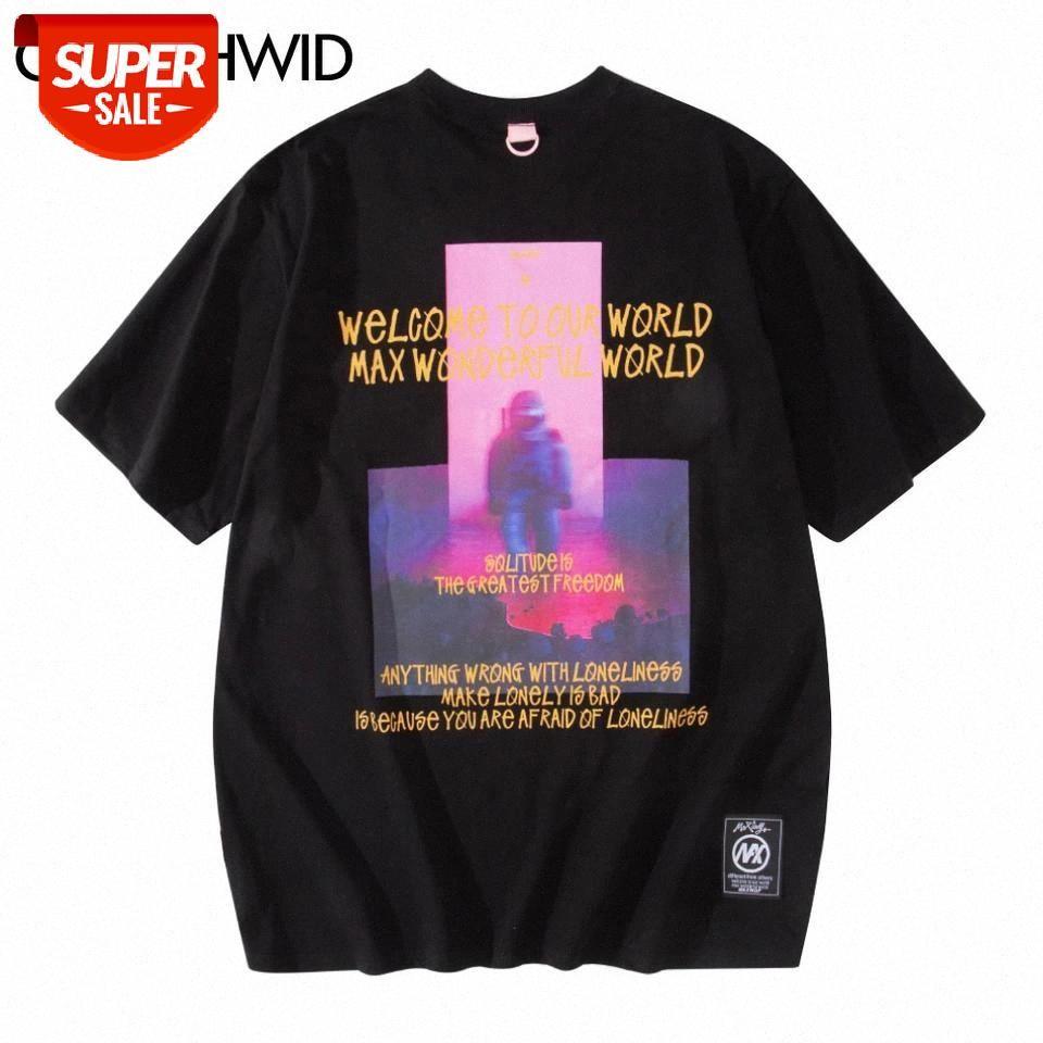 T-shirt Boy Tees Gömlek Hip Hop Streetwear Astronot Kısa Kollu T-Shirt Erkekler Moda Gevşek Rahat Harajuku Tişörtleri Partisi Tops # IW29