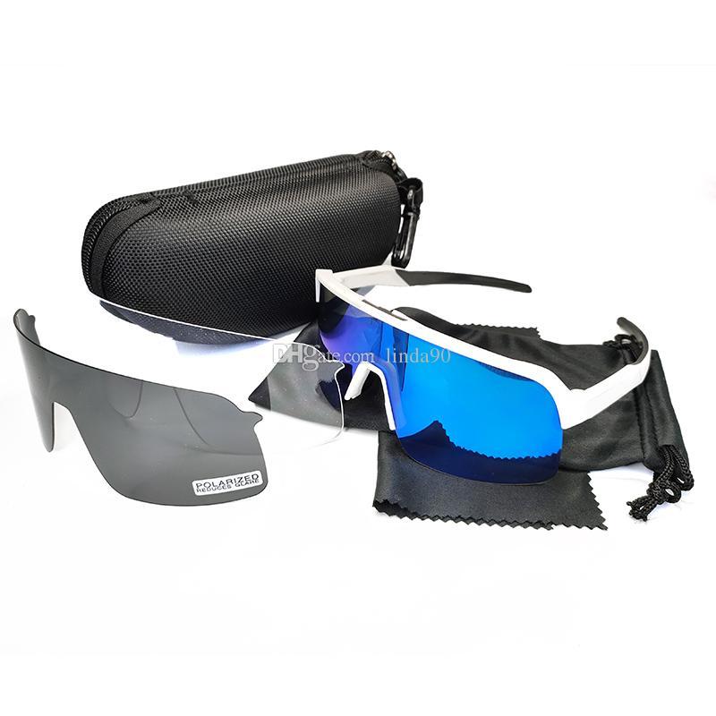 Ciclismo óculos estrada bicicleta óculos ao ar livre esporte homens mulheres óculos de sol projetar meia quadro tr90 com 3 pcs lente preto polarizado