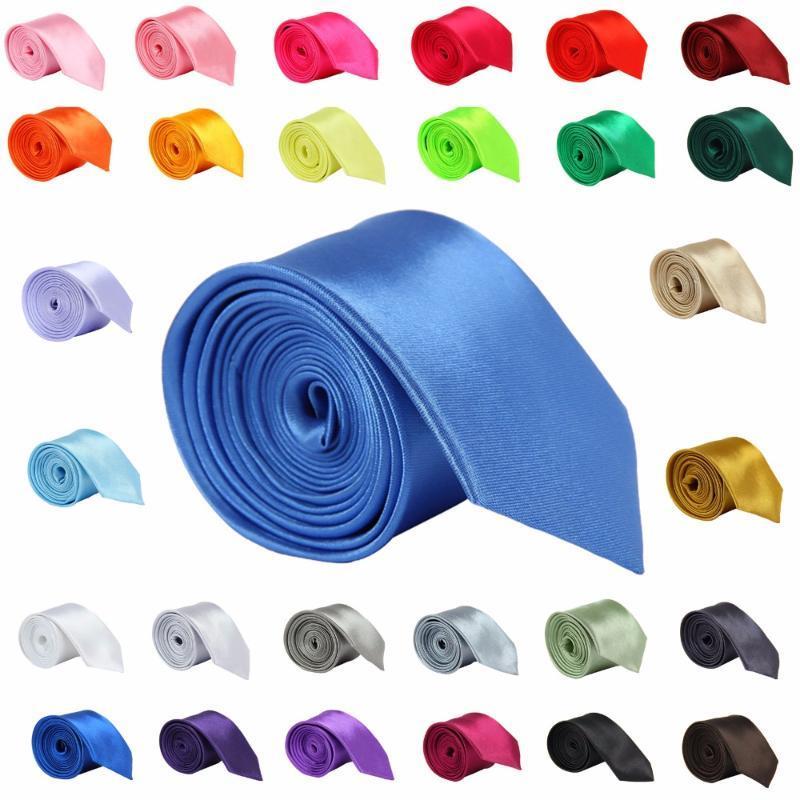Yay Ties Erkekler Için Kravat Ince Katı Renk Kravat Polyester Dar Cravat 5 cm Genişlik 35 Renkler Kraliyet Mavi Altın Parti Örgün Moda