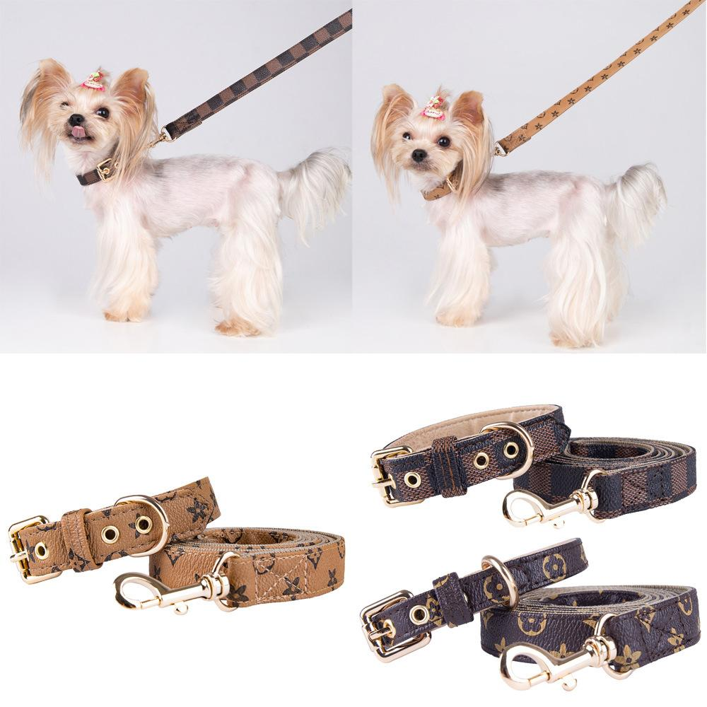 Designs einstellbar PU-Leder Pet Halsbänder Mode Buchstaben Drucken Alte Blumen Leinen Für Kathund Hunde Halskette Durable Hals Dekoration Zubehör Haustiere liefert