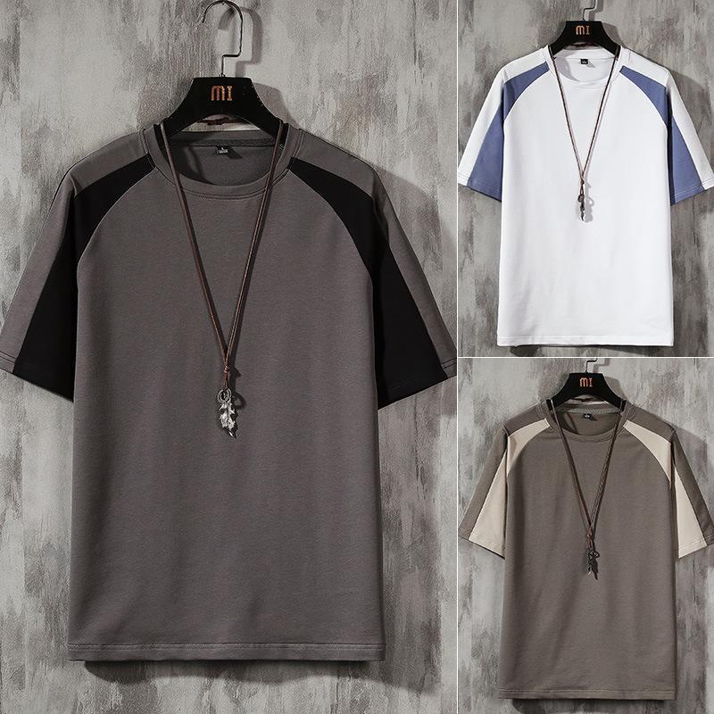 Erkek Kısa Kollu 2021 Yaz Yeni Trend T-shirt erkek Saf Pamuk Ins Gevşek T-shirt Öğrenci Moda Marka Üst Yarım Sleehd0u