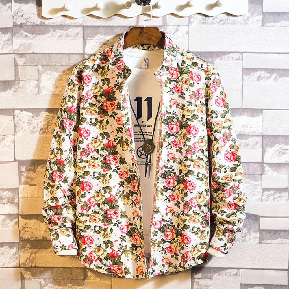 Camicia Molla manica lunga a manica floreale da uomo coreano sottile moda sottile moda casual piic