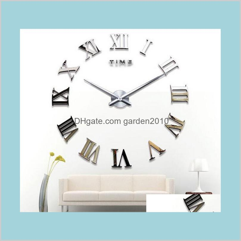 Wall Clocks Home Décor & Garden Classic Rome Number Fashion Clock Creative Decoration Diy Acrylic Mirror Stickers Drop Delivery 2021 Z