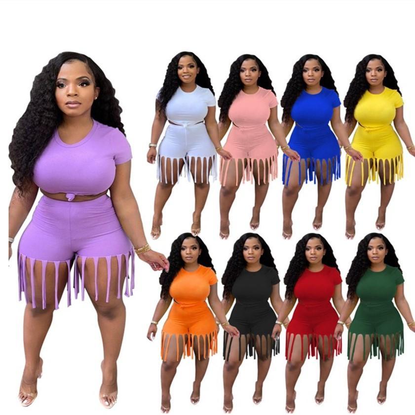 S ~ 5XL Sommer Yoga Sweatsoits Plus Size Frauen Trainingsanzüge Jogginganzug Trendy Outfits Zwei Teile Sets Kurzarm Crop Top + Quaste Shorts Solide Sportswear 3XL 4XL 4900