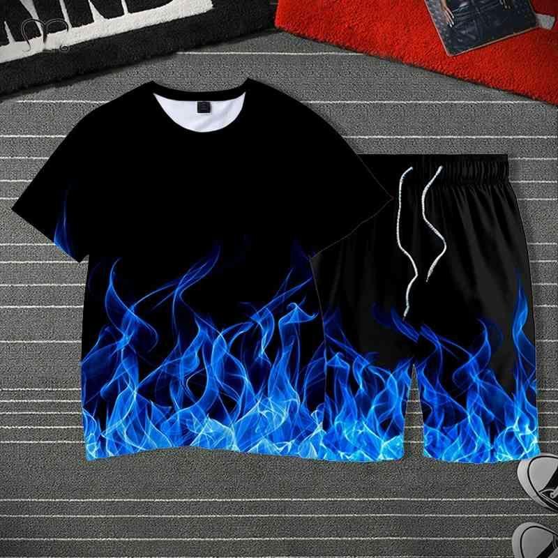 Sportswear Tracksuit Men Streetwear Summer Ensembles Hommes Casual Hip Hop Imprimé T-shirts Shorts SweatSuit Plus Taille 4XL 5XL 210330