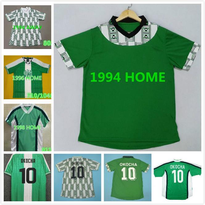 1994 1996 1998 1998 년 # 10 오코샤 레트로 축구 유니폼 그린 Kanu Babaya Rouche West 94 96 98 클래식 축구 셔츠