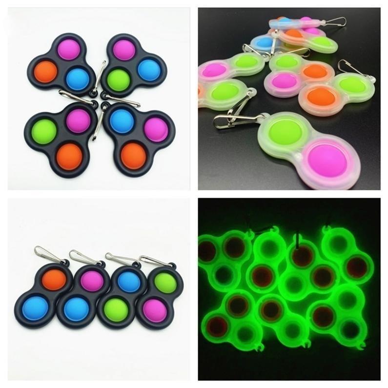 Balls Beychain Push Bubble Fidget Sensory Toy Meetring Autism Специальное нуждается в подсветке Подсветка Простой Цвета ключевой цепи