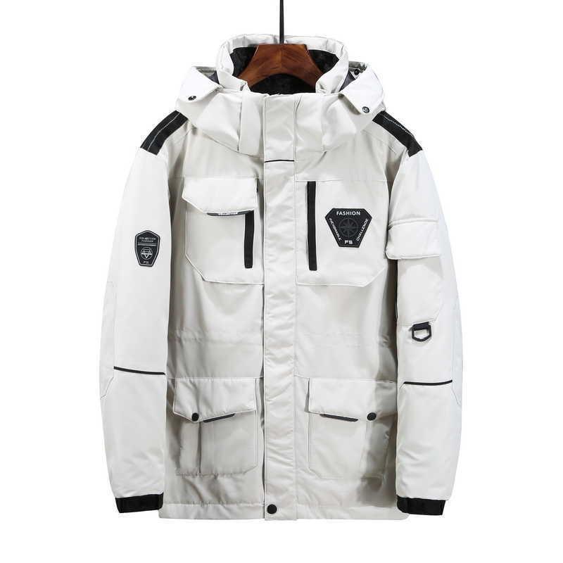 -30 Derece Kış Çift Kirpi Ceket Kadın Kalınlaşmak Sıcak 90% Beyaz Ördek Aşağı Ceketler Erkek Su Geçirmez Parlak Parka Coat Moda 210927