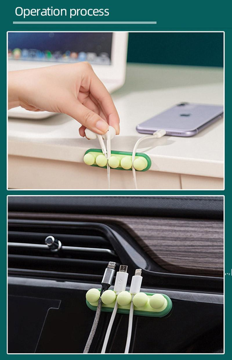 Gestion des câbles de silicone Organiseurs d'alimentation et accessoires Clips Titulaire de cordon de fil auto-adhésif pour la souris USB Charging DWA5606