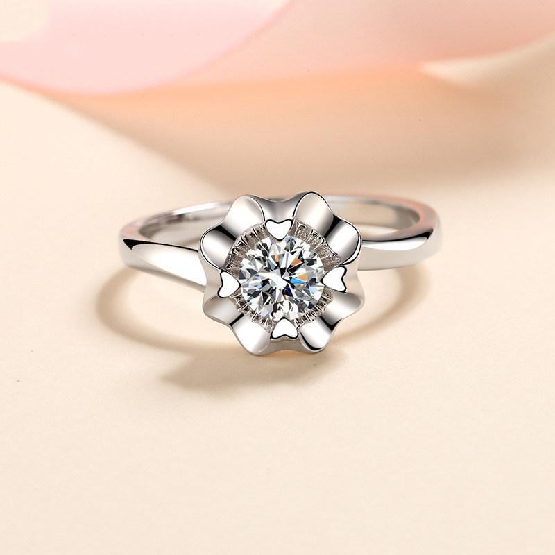 Inbeaut 925 الفضة 0.3-0.5 CT مقطع ممتاز D اللون يمر الماس اختبار مويسانيت 4 قلب مخالب الدائري في سن المراهقة الفتيات حزب المجوهرات