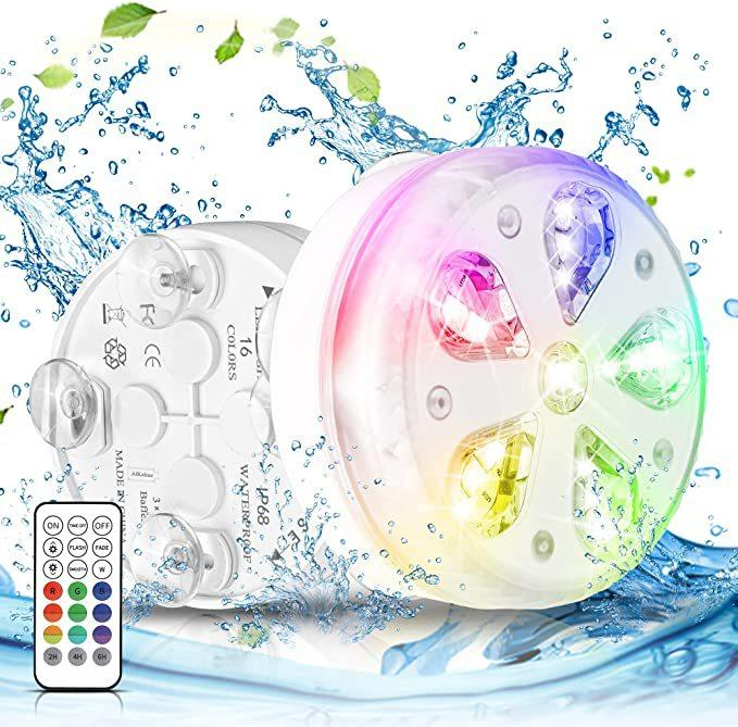 16leds RGB Led Underwater Light Pond Submersible IP67 Waterproof Swimming Pool Lights Battery Operated for Wedding Party