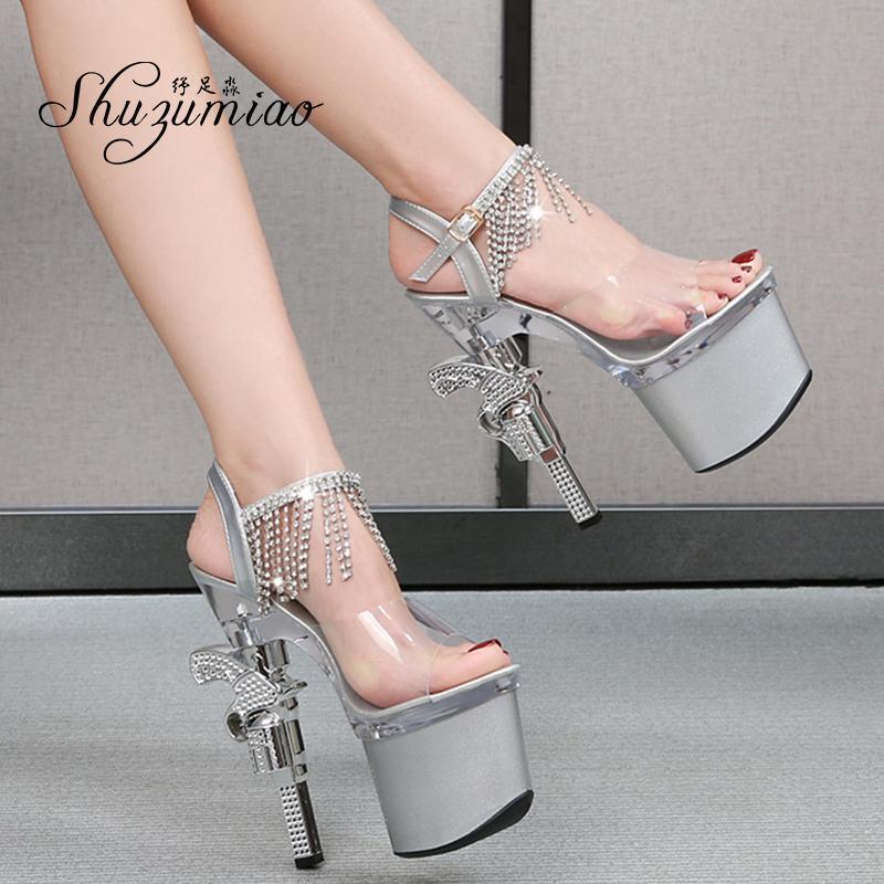 Sandalet Seksi Yüksek Topuk Kadın Ayakkabı Sandalia Şeffaf Yaz Şeridi Için Temizle Topuklu Yaz Şerit Dansı Büyük Boy 431 ZW6G