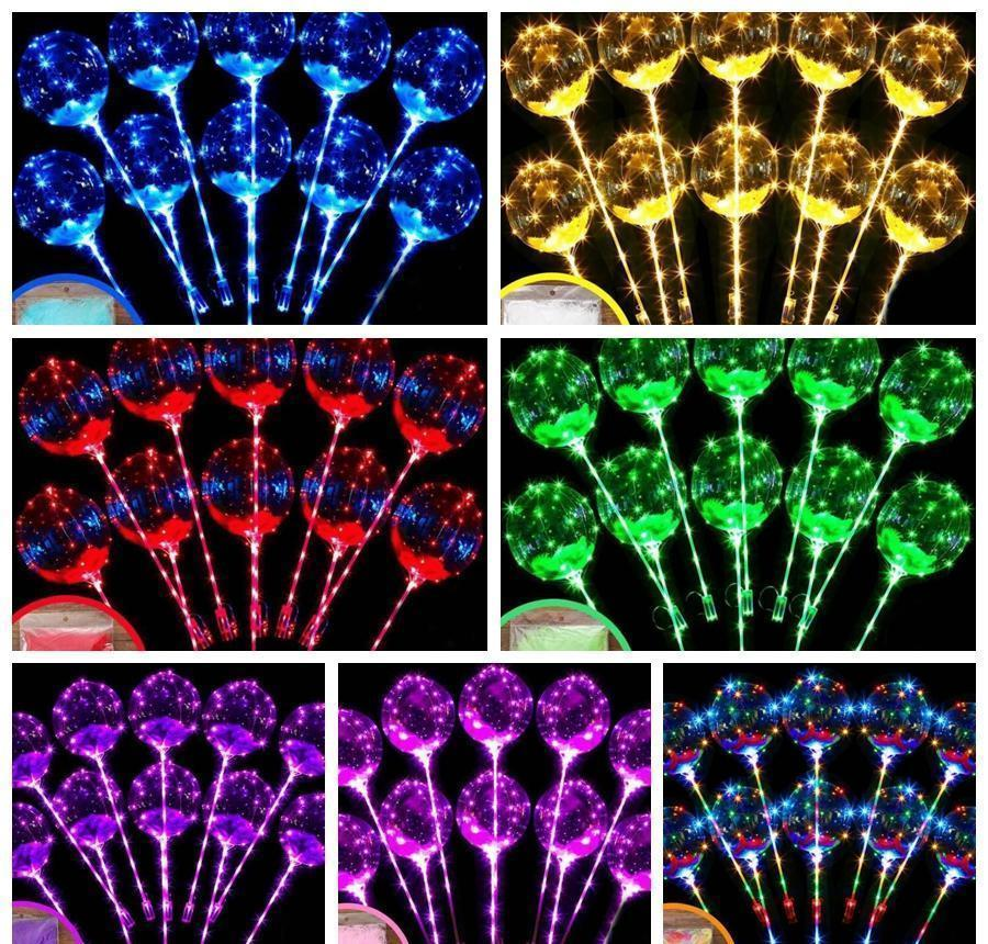 Novelty Gag Toys & Gifts Drop Delivery 2021 Led Flashing Transparent Luminous Lighting Bobo Ball Balloons With Feather String Balloon Xmas We