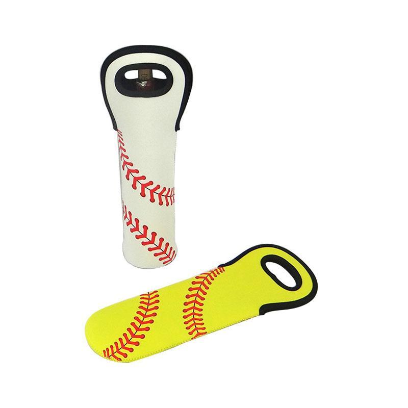 Neoprene Wine Bottle Holder Baseball Single Pack Ball Pattern Cover Bag Hand Made Sleeve Yellow White