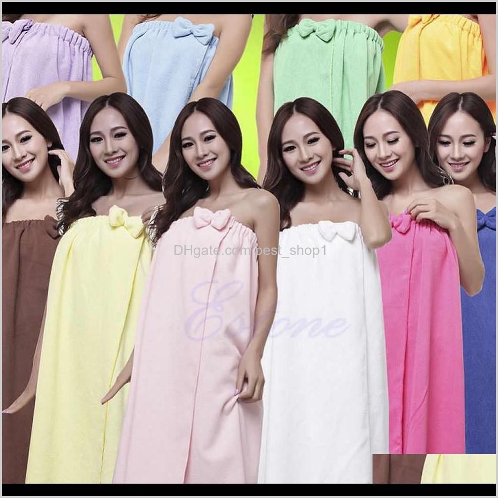 Textiles Home Garden Drop Entrega 2021 Mujeres Absorbent Microfibra Fleece Ducha Spa Body Wrap Toalla de baño 145x75cm JE5VX