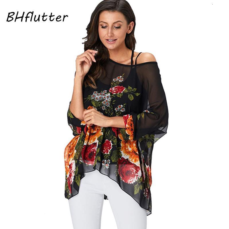 Bhflutter Femmes Tops Tunique Nouveau Style Floral imprimé Chemis de Chemisier Chemis de Chemison Batwing Casual Loose Summer Shirts Plus Taille Blusas 201201