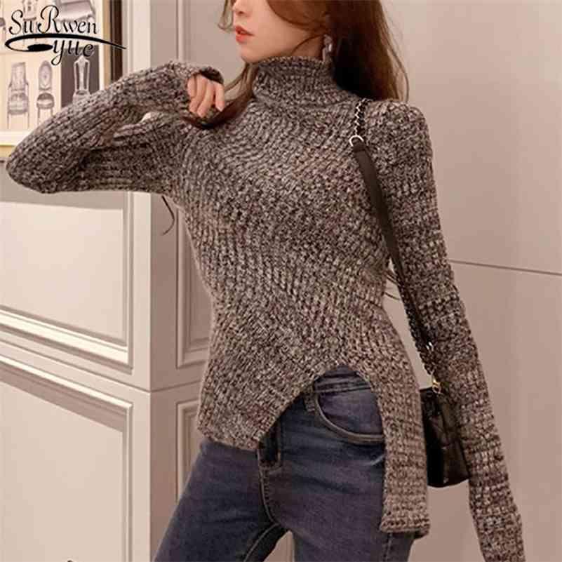 Fashion automne hiver vêtements femmes coréen Vintage gris chandails tricotés à manches longues pulls de colonne à colonne à colonne à col roux 11029 210518