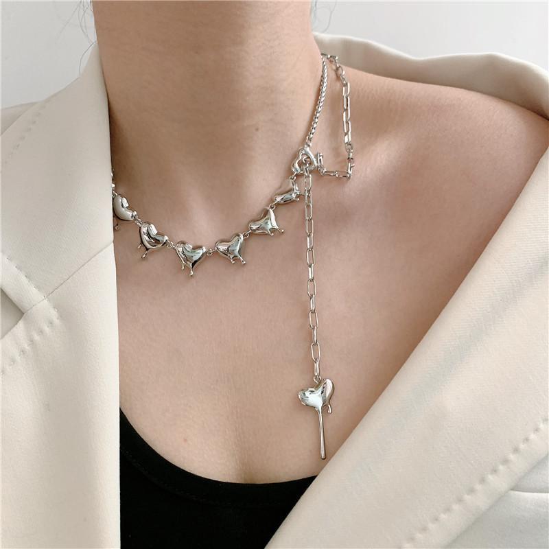 Colar de cadeia de clavícula de metal de contas para mulheres geométricas amor pingente feminino moda vintage pescoço jóias garotos