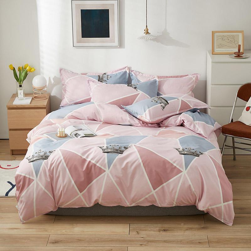 Bettwäsche-Sets Duvet-Abdeckung Set Mode gedrucktes Bade-Blatt 3/4 Stück Queen-Bett-Matratze Einfache Kissenbezug