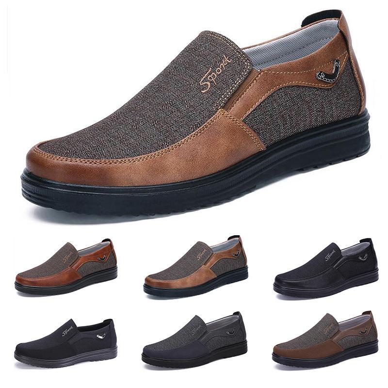 2021 Concepteur de mode Style d'affaires Chaussures Hommes Business Black Brun Loisirs Soft Appartements Soft Hommes Robe décontractée pour la fête 38-44 douze