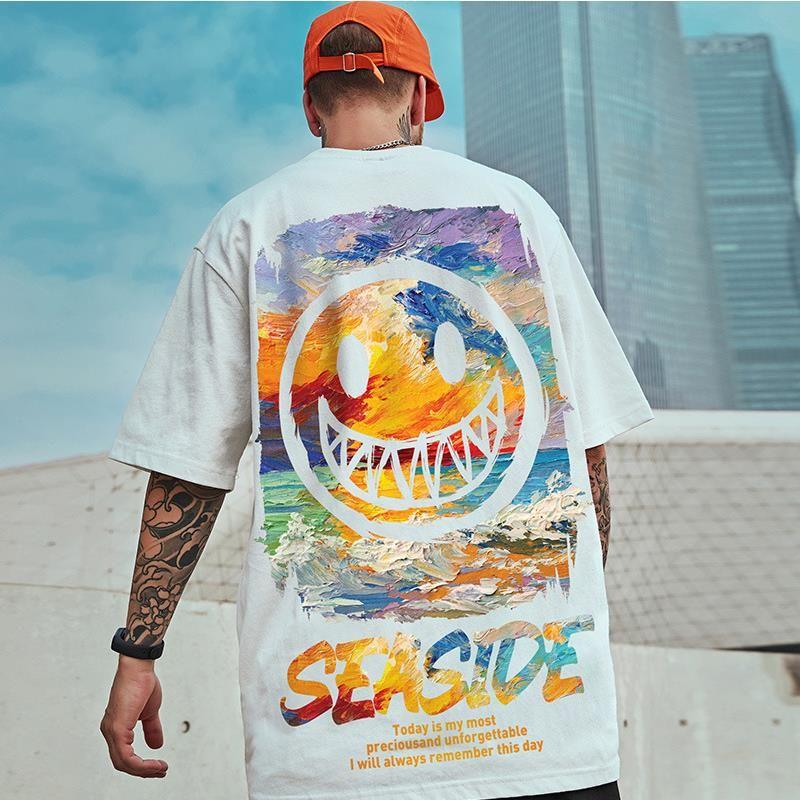 Moda Mens camisetas Verão Solto Sleeve Camisetas Homens Casual Hip Hop Estilo T-shirt com tops de impressão de sorriso
