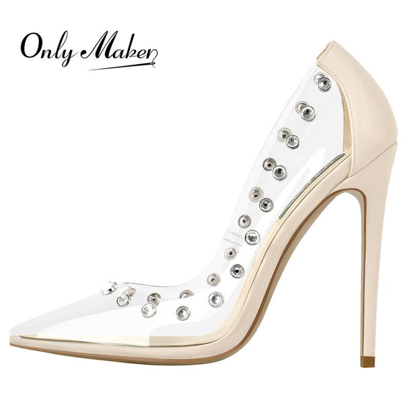 OnlyMaker Damen spitzer Zehe Nieten Beige PVC Mode Dünne Fersen Pumps Schuhe Klare Frau Große Größe Slip auf Pumpen 210423