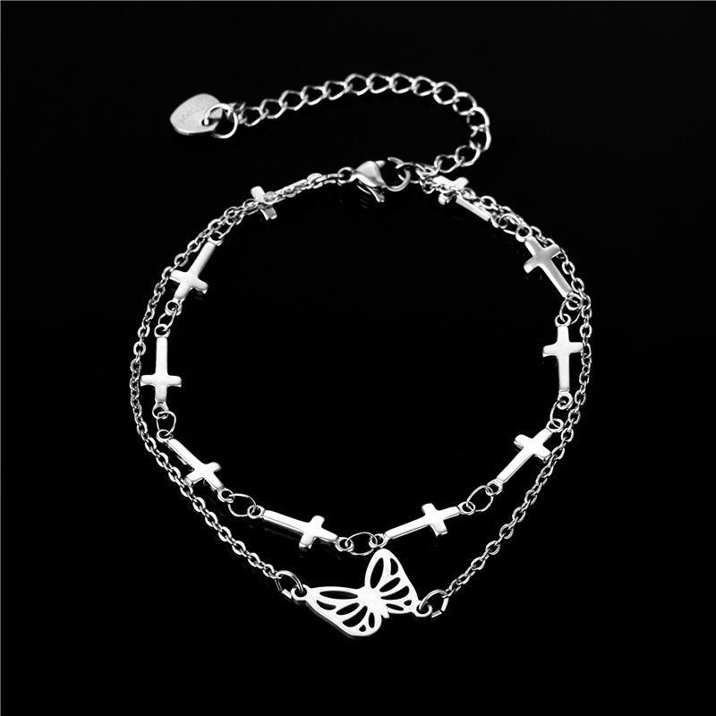Los anillos de compromiso de los pendientes del diseñador, las pulseras y los collares de oro son los favoritos de las mujeres enlazan, cadena popular mariposa de doble capa de doble capa de acero de acero, niñafrie