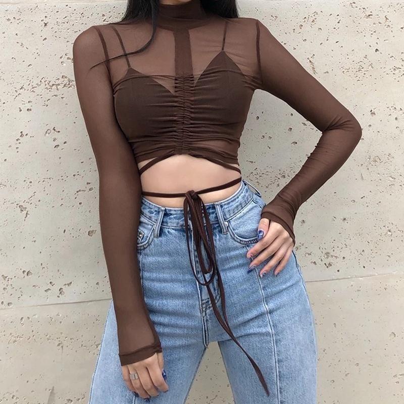 Turtleneck Mesh Transparent Cropped T Shirt Autumn Bandage Brown Long Sleeve Sexy See Through Streetwear Women's T-Shirt